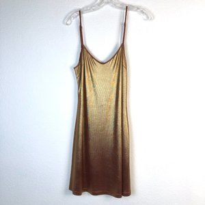 Greylin Metallic Gold & Red Slip Dress